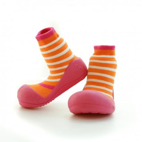 Stripes Orange/White/Fuchsia