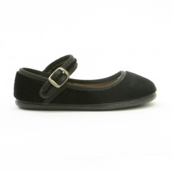 Zapatos niña terciopelo negro.