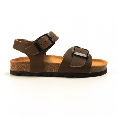 personalizadas zapatos de otoño modelado duradero Sandalia bio de Piel marrón - Leopotamo