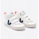 Veja V-10 Mid Velcro Cuero Blanco-Cobalto-Naranja