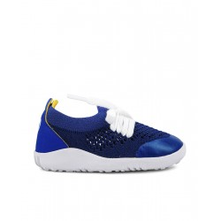STEP UP. PLAY KNIT Blueberry + Yellow