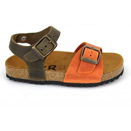 Sandalia bio de Piel naranja/kaki